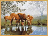 монгольский ковёр с лошадьми